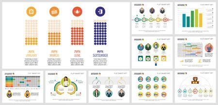 Creatieve diagramset voor zakelijke projectplanning, marketingrapport, werkstroomlay-out, presentatiediasjabloon. Analyse en planningsconcept. Bar, percentage, tijdlijn, kalender, stroomdiagrammen Vector Illustratie