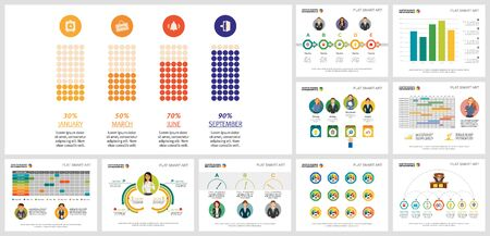 Creative diagram set for business project schedule, marketing report, workflow layout, presentation slide template. Analysis and planning concept. Bar, percentage, timeline, calendar, flow charts Vektorové ilustrace