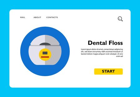 Multicolored vector icon of box with dental floss Vetores