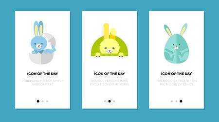 Easter bunny flat icon set. Cute cartoon character, rabbit, egg, eggshell. Holiday, celebration, mascot concept. Vector illustration symbol elements for web design