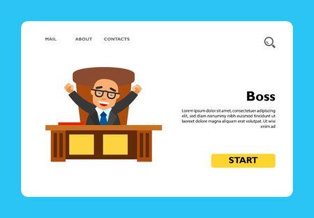 Icône de patron. Illustration vectorielle multicolore du personnage masculin assis à la table du bureau avec les mains vers le haut
