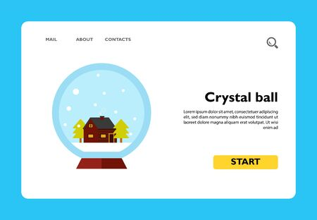 Vector icon of crystal ball with house and two spruce inside Stock Illustratie