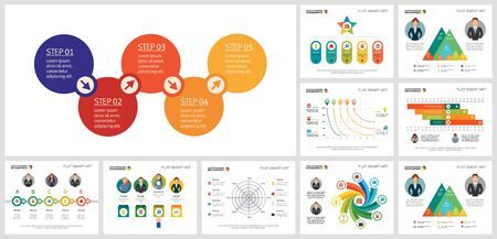 Set of colorful original business infographic diagrams. Can be used for workflow layout, presentation slide, web design. Business and accounting concept with process, flow and radar charts