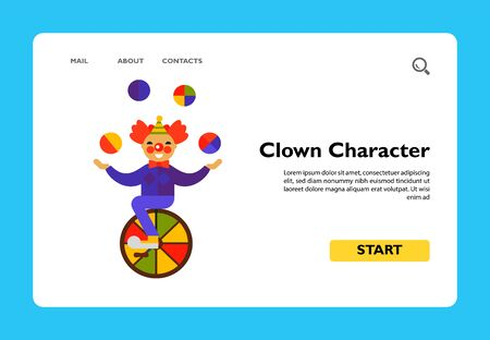 Multicolored vector icon of cute cartoon clown character riding one wheel circus bike and juggling