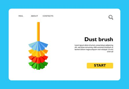 Vector icon of colorful dust brush. Duster, cleaning equipment, housework. Cleaning concept. Can be used for topics like chores, clean-up, domestic work