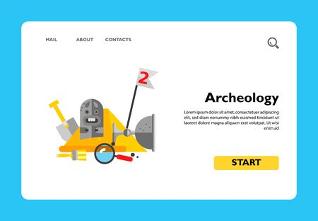 Multicolored vector icon of stone idol and bowl, spade, brush and loupe on background of Egyptian pyramid representing archeology concept