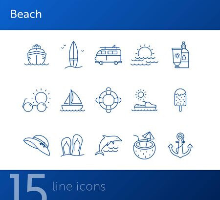 Beach line icon set. Yacht, surfboard, sea, sunset. Vacation concept. Can be used for topics like seaside, tropical resort, summer  イラスト・ベクター素材