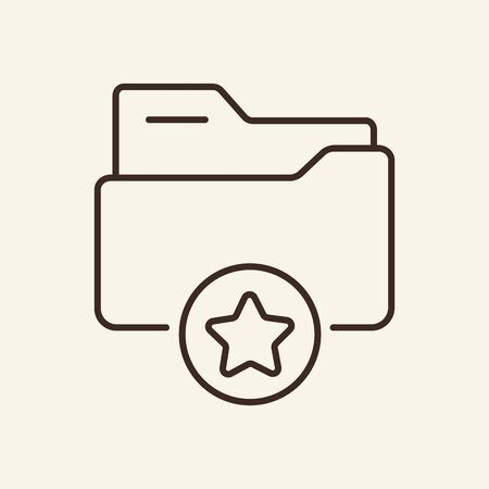 Folder with star thin line icon. Favourite folder concept. Vector illustration symbol elements for web design and apps.