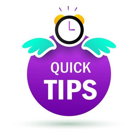 Quick tips poster template with clock. Purple sticker with blue wings. Can be used for leaflets, brochures, announcements