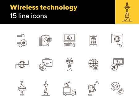Wireless technology thin line icon set. Network, connection, satellite antenna isolated sign pack. Communication services concept. Vector illustration symbol elements for web design and apps.