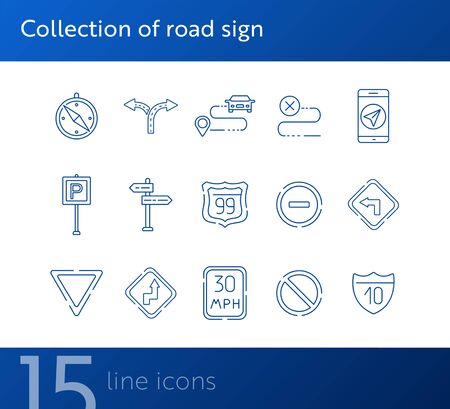 Collection of road sign icons. Compass, route, mobile navigation. Road sign concept. Vector illustration can be used for topics like traffic, road marking, traffic striping Vector Illustration