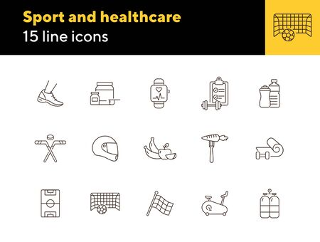 Sport and healthcare line icon set. Healthy eating, exercising, game. Slimming concept. Can be used for topics like weightloss, sport, sports equipment 矢量图像