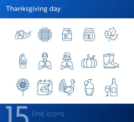 Thanksgiving day line icon set with people, wine and pumpkin. Turkey cock, cornucopia, pie, praying pilgrim. Thanksgiving concept. Can be used for topics like autumn, holiday, dinner, harvest Vectores