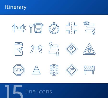 Itinerary line icons. Set of line icons. Bridge, traffic lights, stop road sign. Traffic concept. Vector illustration can be used for topics like navigation, travelling