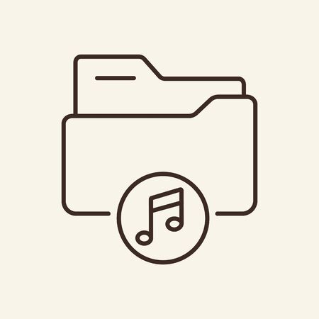 Folder with audio thin line icon. Music gallery folder concept. Vector illustration symbol elements for web design and apps.
