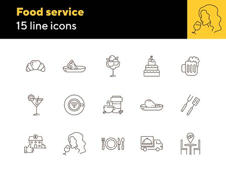 Food service line icon set. Coffee shop, confectionery, pub, bar, pizzeria isolated outline sign pack. Restaurant business concept. Vector illustration symbol elements for web design and apps