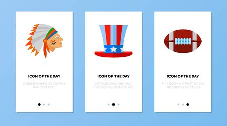 American symbols icon set. Indian, rugby, top hat isolated sign. America, USA, national holidays concept. Vector illustration symbol element for web design
