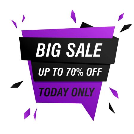Big sale today only offer banner design with burst. Abstract graphic element with text. Speech bubble geometric shape vector illustration. Template for promotion poster, advertising label or flyer