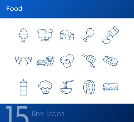 Food line icons. Set of line icons. Cheese, croissant, boiled egg. Food concept. Vector illustration can be used for topics like meals, eating, nourishment