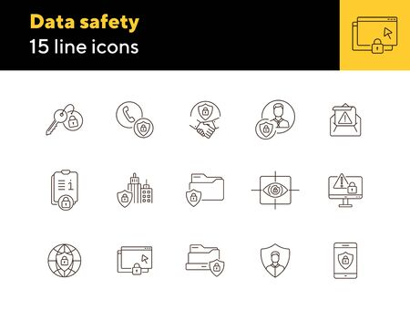 Data safety line icon set. Shield, lock, personal profile, folder isolated outline sign pack. Data protection concept. Vector illustration symbol elements for web design and apps