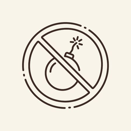 Prohibition of bombs thin line icon. No explosives, circular stop, warning isolated outline sign. Artificial intelligence concept. Vector illustration symbol element for web design and apps.