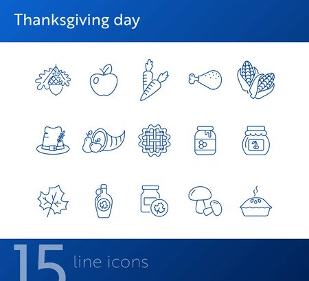 Thanksgiving day line icon set with cornucopia. Pie, maize, fruits, vegetables. Thanksgiving concept. Can be used for topics like autumn, holiday, dinner, harvest