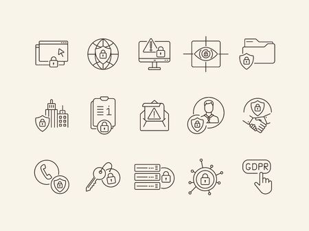 Cybersecurity line icon set. Lock, server, access, files, state security isolated outline sign pack. Data protection concept. Vector illustration symbol elements for web design and apps Illusztráció