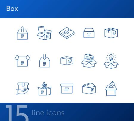 Box line icon set. Delivery and packaging concept.Vector illustration can be used for topics like post office, courier, logistics