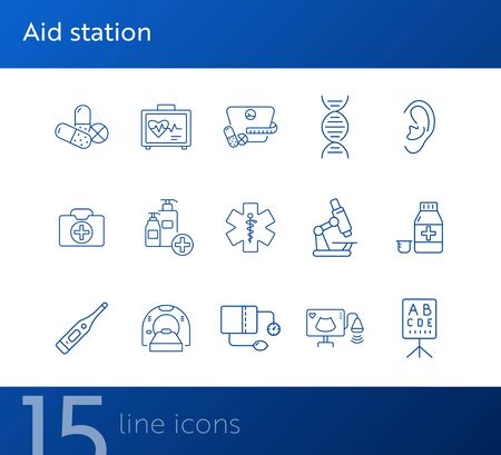 Aid station icons. Set of line icons. Pills, DNA, vision test, microscope. Medicine concept. Vector illustration can be used for topics like healthcare, science, hospital