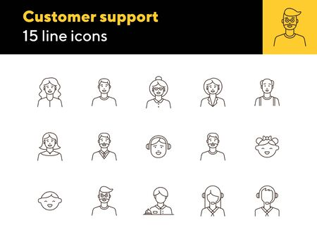 Customers icons. Set of line icons on white background. Call center operator, client, receptionist. People concept. Vector illustration can be used for topics like application, lifestyle, service Illustration