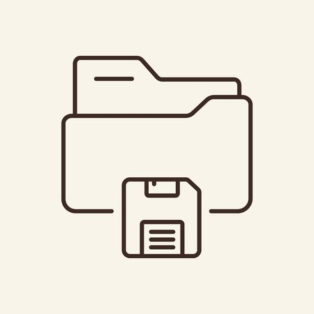 Folder with save button thin line icon. Save folder concept. Vector illustration symbol elements for web design and apps.