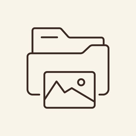 Pictures folder thin line icon. Folder with image gallery concept. Vector illustration symbol elements for web design and apps.