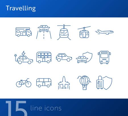 Travelling line icon set. Airplane, bus, double decker, camper van, car. Vacation concept. Can be used for topics like trip, journey, tour, voyage