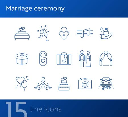 Marriage ceremony icons. Set of line icons. Wedding ring, just married car, balloons. Wedding concept. Vector illustration can be used for topics like marriage, family, love