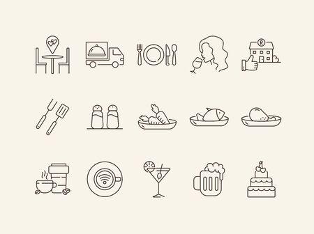 Restaurant and bars app line icon set. Dessert, vegetables, pizza, beer isolated outline sign pack. Restaurant business concept. Vector illustration symbol elements for web design.