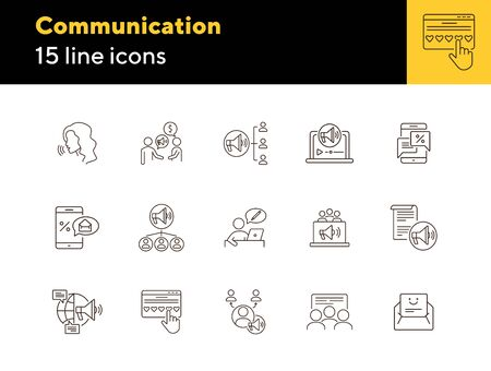 Communication line icons. Set of line icons. Woman talking, people at conference. Interaction concept. Vector illustration can be used for topics like business, public speaking
