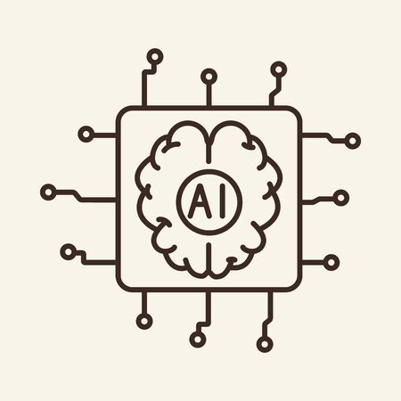 Embedded device thin line icon. Brain, chip, microchip, AI isolated outline sign. Artificial intelligence concept. Vector illustration symbol element for web design and apps Ilustración de vector