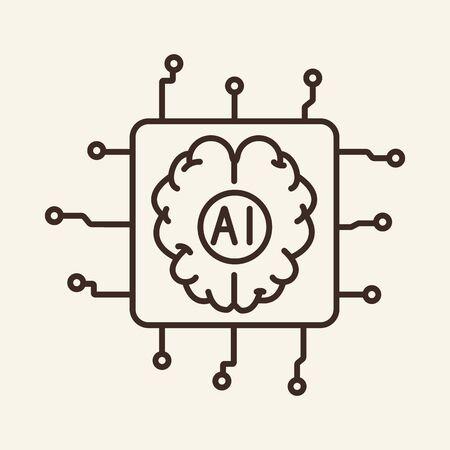 Icône de fine ligne de périphérique intégré. Cerveau, puce, puce électronique, signe de contour isolé AI. Notion d'intelligence artificielle. Élément de symbole d'illustration vectorielle pour la conception Web et les applications Vecteurs