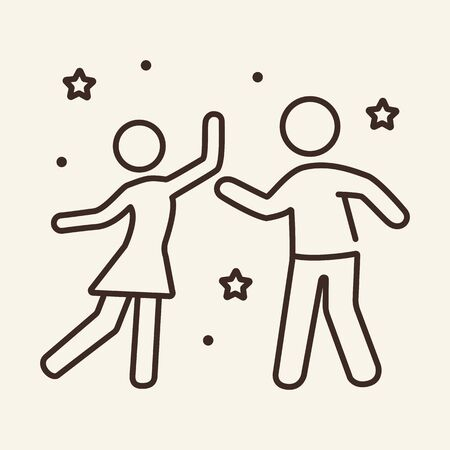 Man and woman dancing thin line icon. Concept of celebration, party. Vector illustration symbol elements for web design and apps.