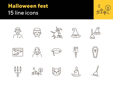 Halloween fest line icons. Sconce, bats on screen, witch on broom. Halloween concept. Vector illustration can be used for topics like holiday, festivals, celebration 向量圖像