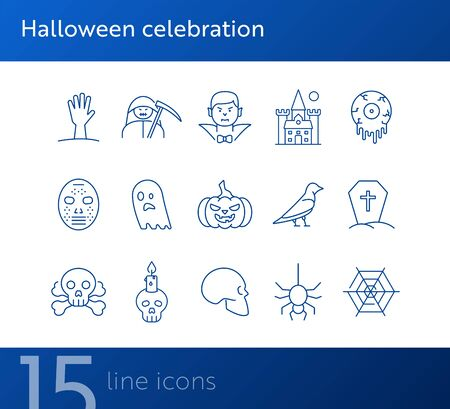 Halloween celebration line icons. Grim Reaper, ghost, pumpkin. Halloween concept. Vector illustration can be used for topics like holiday, festivals, celebration