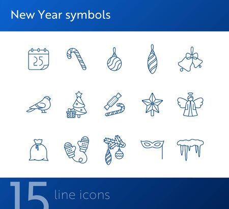 New Year symbols thin line icon collection. Carnival mask, Christmas tree, robin sign pack. Winter holidays concept. Vector illustration symbol elements for web design and apps