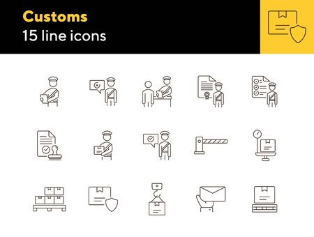 Customs icons. Set of line icons. Customs officer, passport check, custom border. Airport concept. Vector illustration can be used for topics like delivery, immigration, shipping