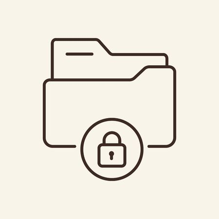 Secure data folder thin line icon. Cyber security concept. Vector illustration symbol elements for web design and apps.