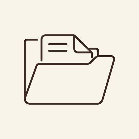 Folder with file thin line icon. Folder with document concept. Vector illustration symbol elements for web design and apps. Ilustração