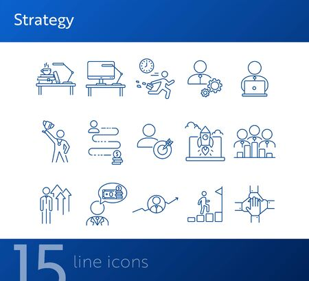 Strategy line icon set. Businessman, late for work, leader, goal. Business concept. Can be used for topics like success, achievement, career promotion, growth Vectores
