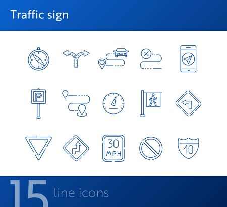 Traffic sign line icons. Route, destination, yield ahead. Road sign concept. Vector illustration can be used for topics like traffic, road marking, traffic striping