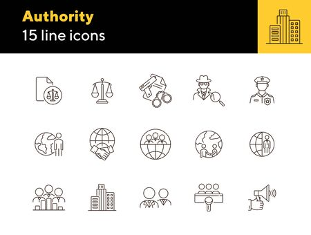 Authority line icon set. Police officer, detective, globe, handshake. Authority concept. Can be used for topics like foreign relations, politics, human right court