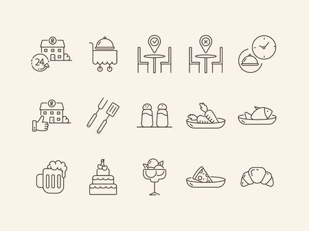 Restaurant cuisine line icon set. Seafood, vegan menu, dessert, pizza, barbecue isolated outline sign pack. Restaurant business concept. Vector illustration symbol elements for web design and apps