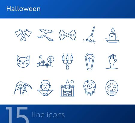 Halloween line icons. Coffin, vampire, crossed bones. Halloween concept. Vector illustration can be used for topics like holiday, festivals, celebration